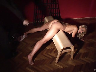 Small boobs slave girl Roxy Rocket gets the brush firm ass spanked