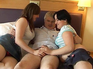Chubby wife and her nasty join up enjoy pleasuring her husband