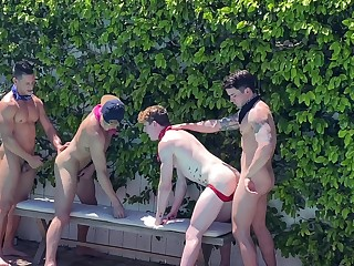 Appealing gay orgy in alfresco bareback foursome