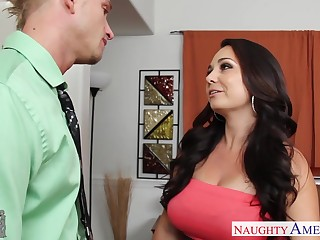 Sexy buxom brunette babe Holly West gets nude to ride strong cock