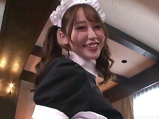Two Japanese maids finger themselves while their boss is watching