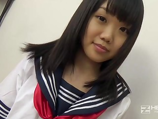 Asian honey, Natsuno Himawari is wearing her college uniform while getting smashed added to fellating prick