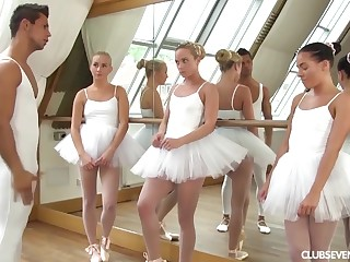 three youthfull lil' ballerinas share manmeat be advisable for teacher after exercise